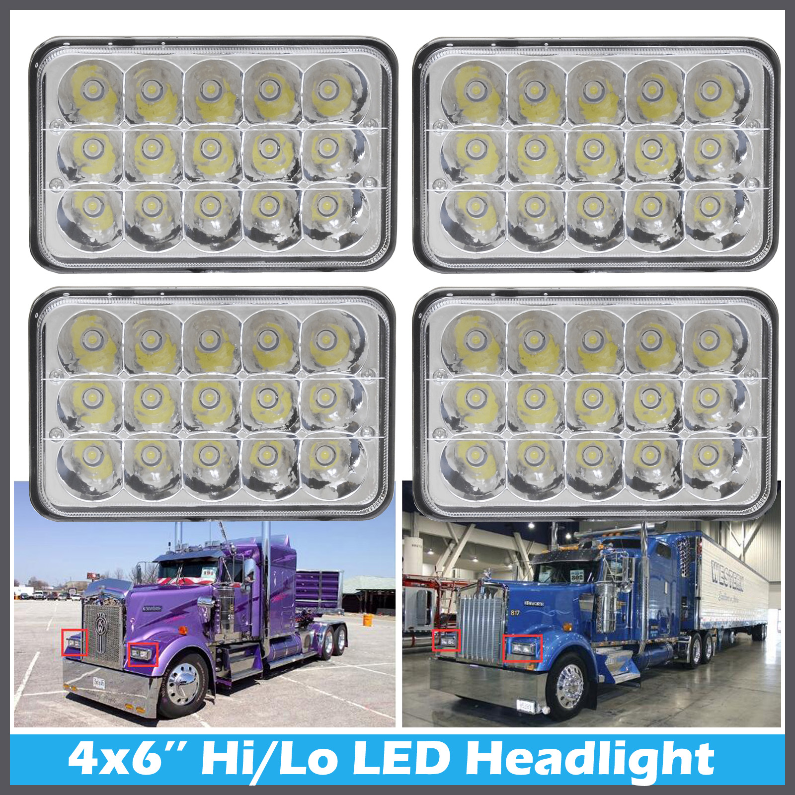 4 X6 Led Headlight For Kenworth Peterbilt 378 357 379 Commercial Truck Lights Ebay