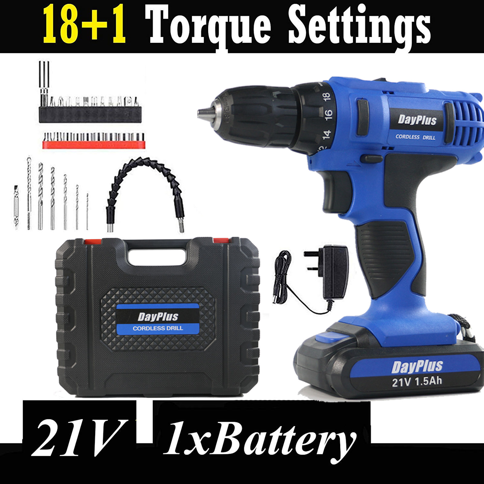 Cordless Drill Combi Screwdriver 21V Lithium Ion Dual Speed 45Nm Forward Reverse