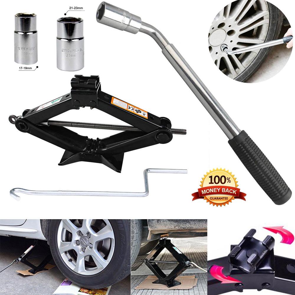 Extendable Wheel Brace Socket Wrench Car Van 2 Ton Tonne Wind Up Scissor Jack