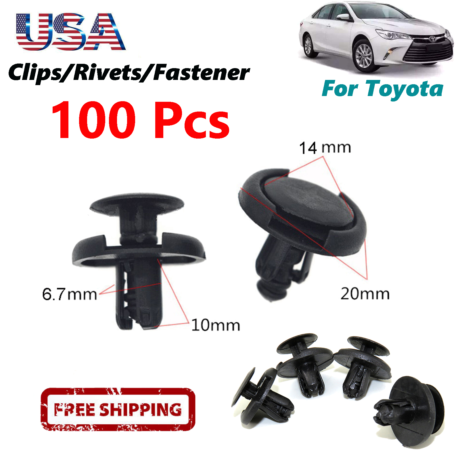 100Pcs Push Clips Fastener Rivets Fender Liner Retainer 7mm Hole Dia For Toyota
