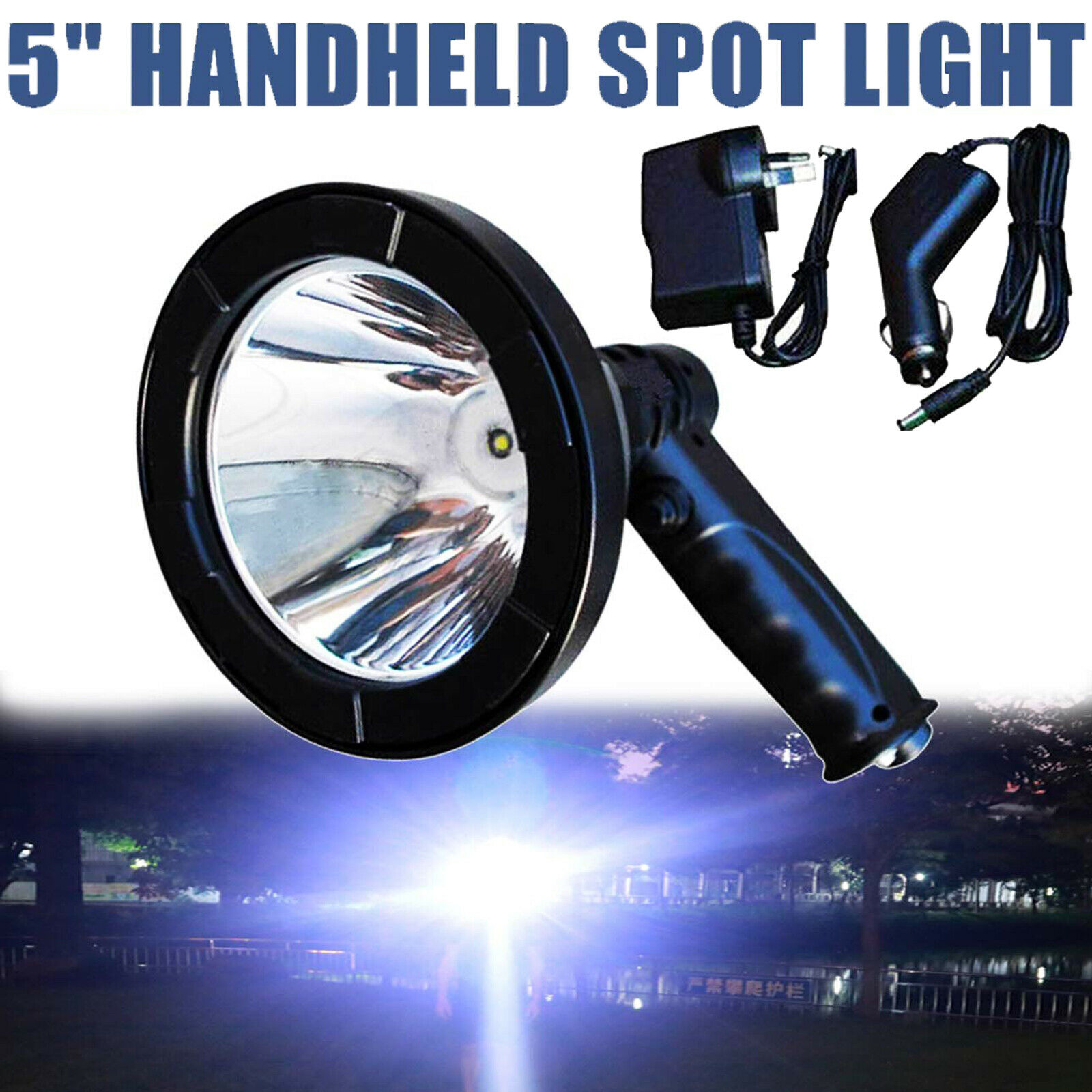 5INCH LED Handheld Spotlight Rechargeable Torch Hunting Fishing Spot Light 2000W