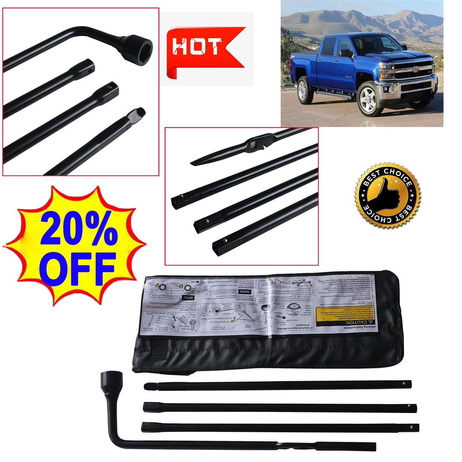 Spare Lug Wrench Tire Tool Set Replacement  For 99-15 Chevy GMC Silverado Sierra