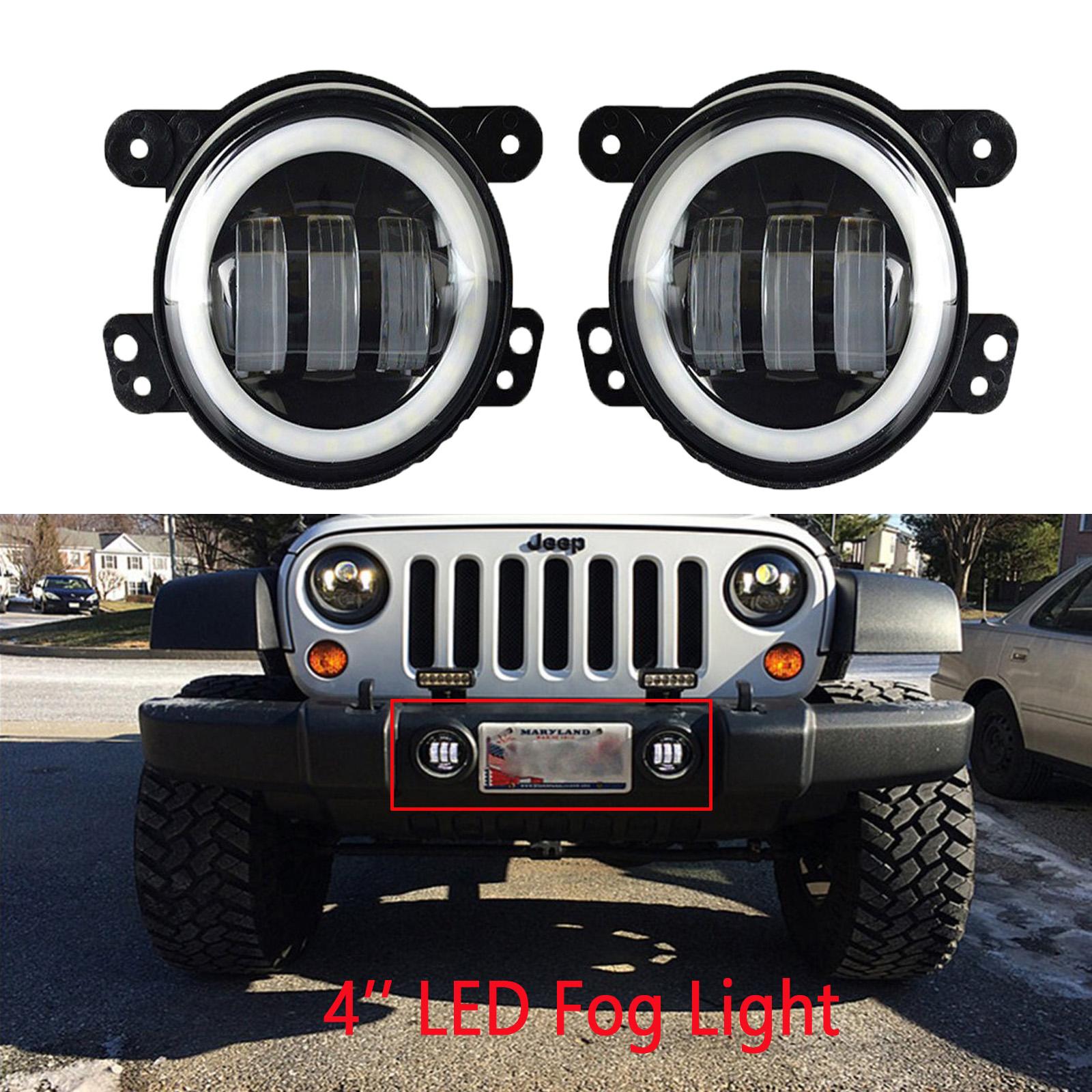 2 Pieces 30W 4/'/' White LED Fog Light For Jeep Wrangler JK TJ