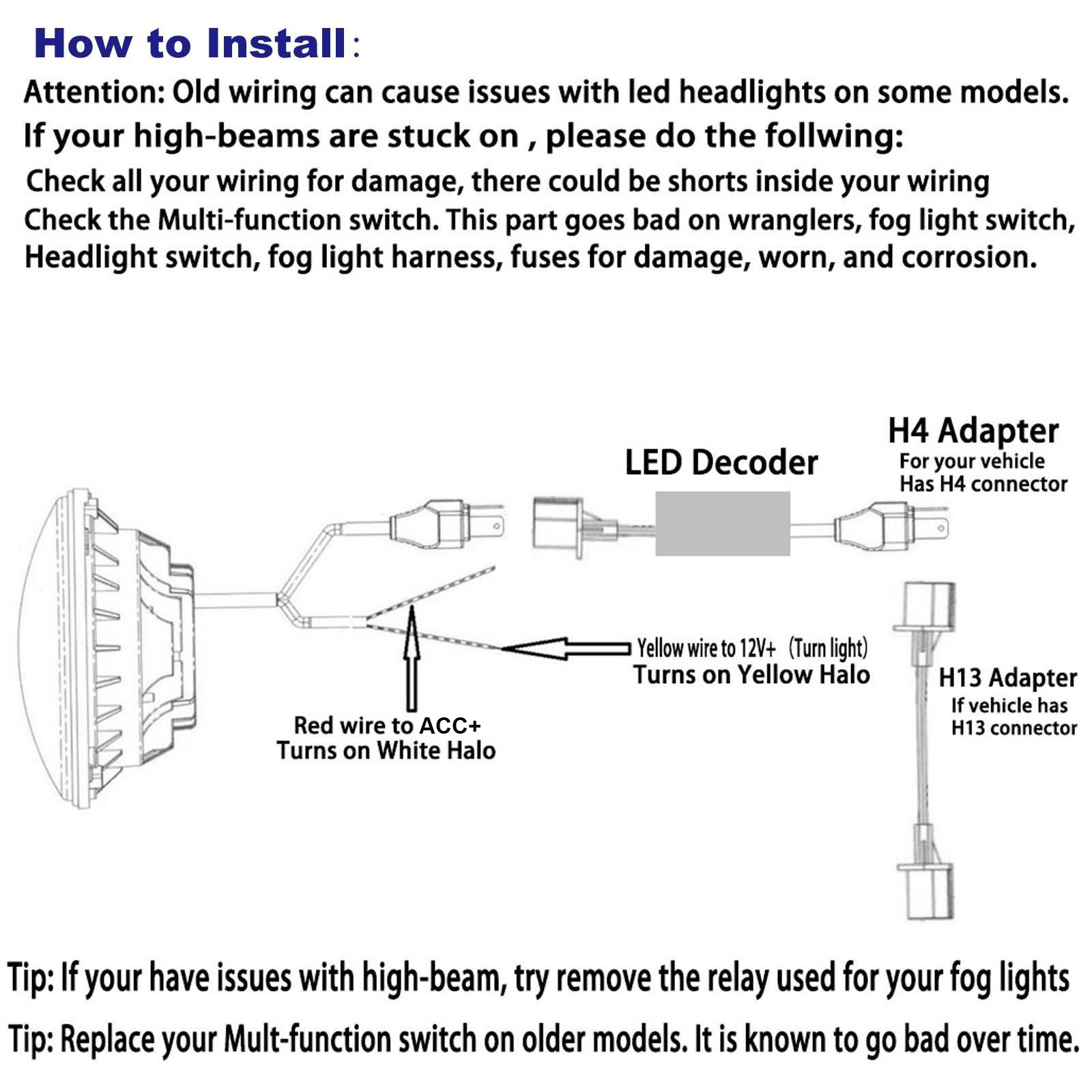H13 High Low Relay Wiring Diagram Diagrams Hid Kit For Toyota Fj Cruiser 7 Inch Cree Led Headlight Beam Drl