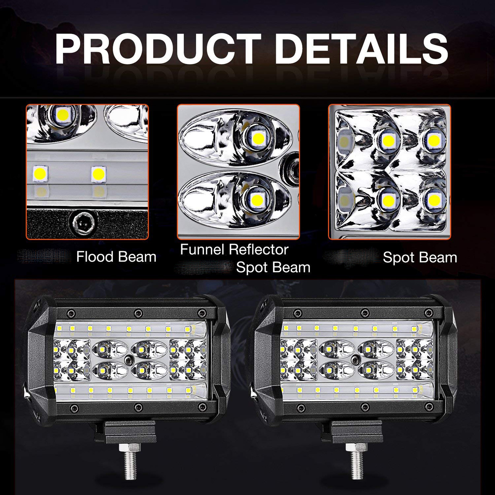 5inch 4 Row Led Car Work Light Bar Spot Flood Beam Suv Boat Wiring On A Tractor Lights Kit