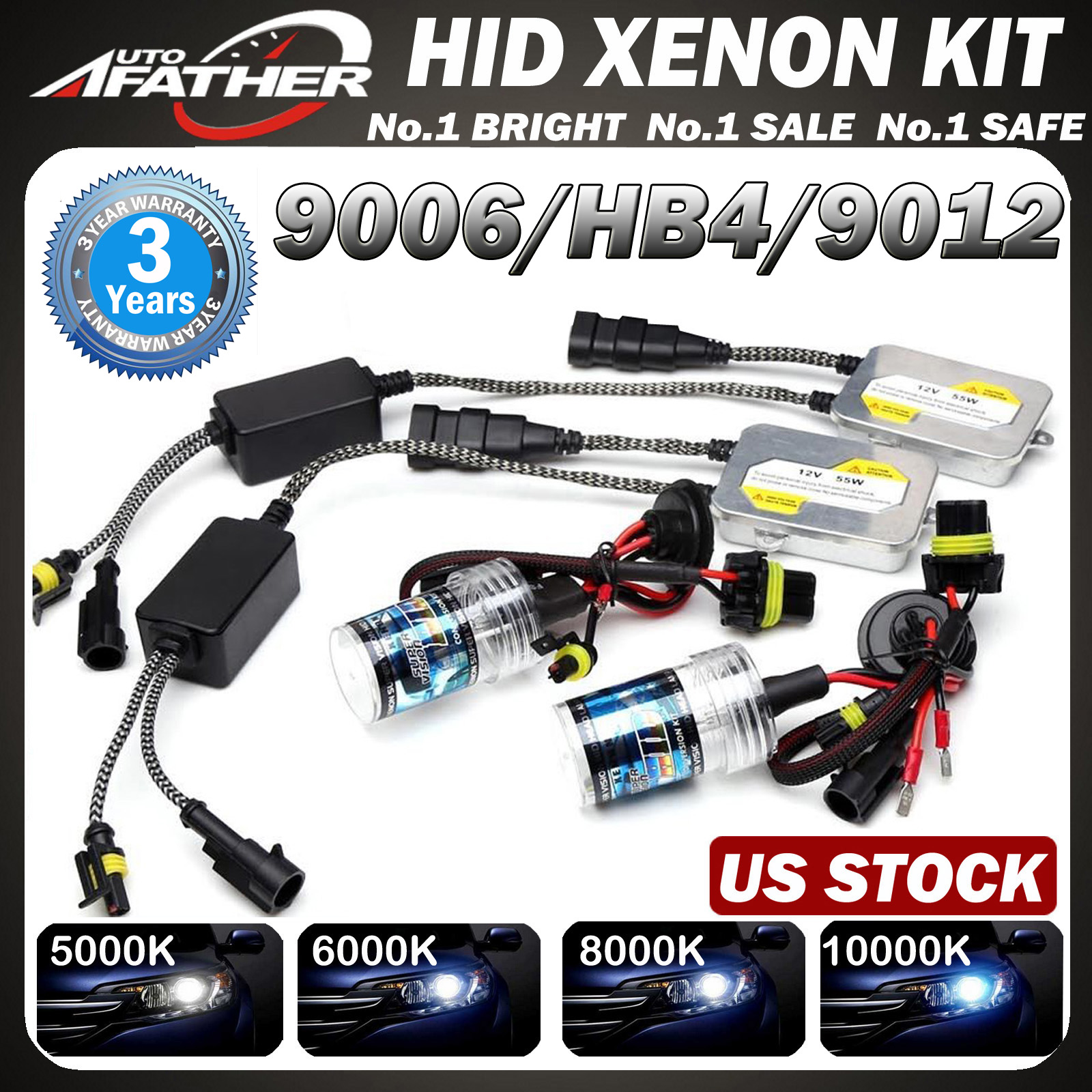 Details about Xenon Bulbs Ballasts 9006 HB4 9012 HID Replacement Bulbs For  Headlight Foglight