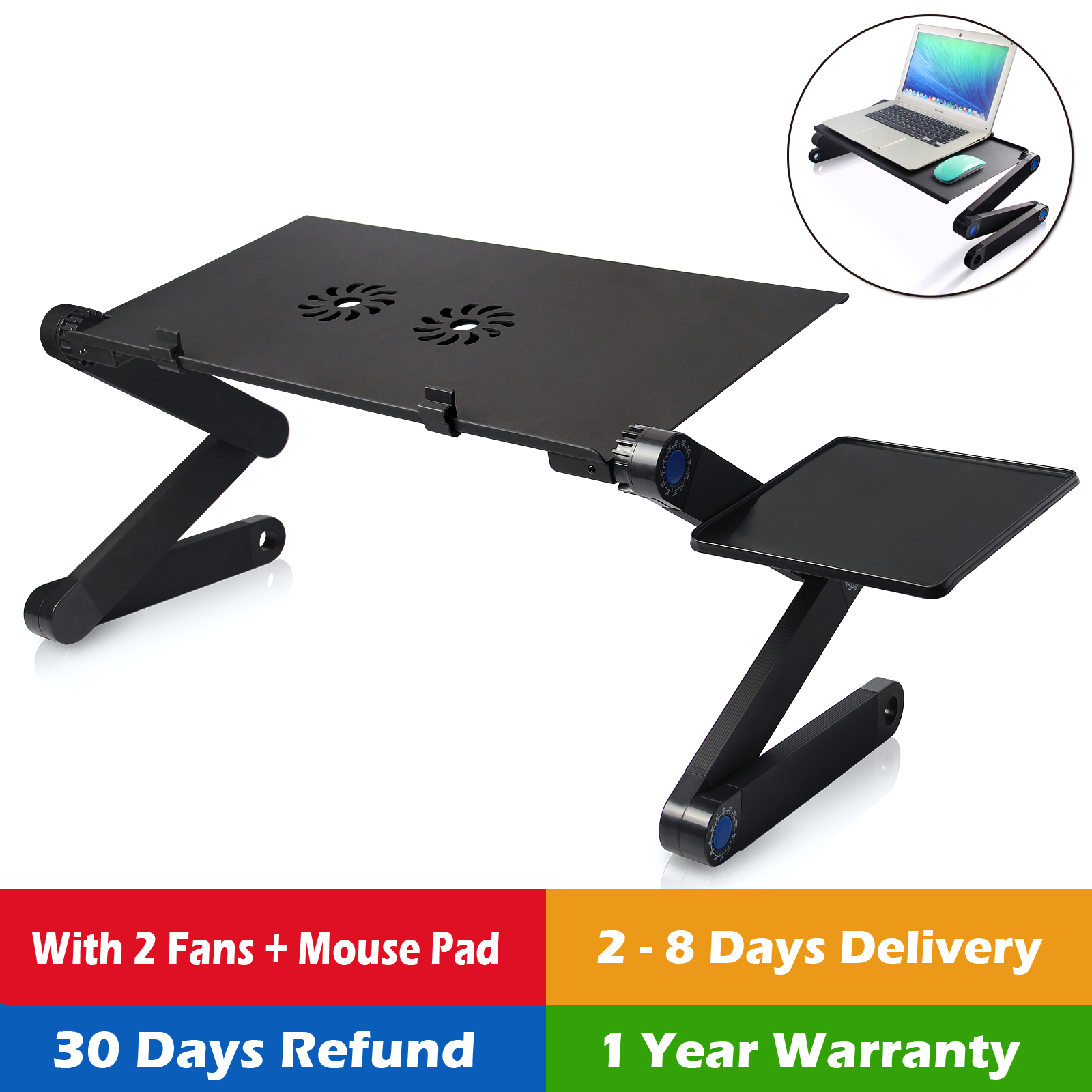 Laptop Desk Bed Cup Holder Computer Table Lap Tray Notebook Portable Stand