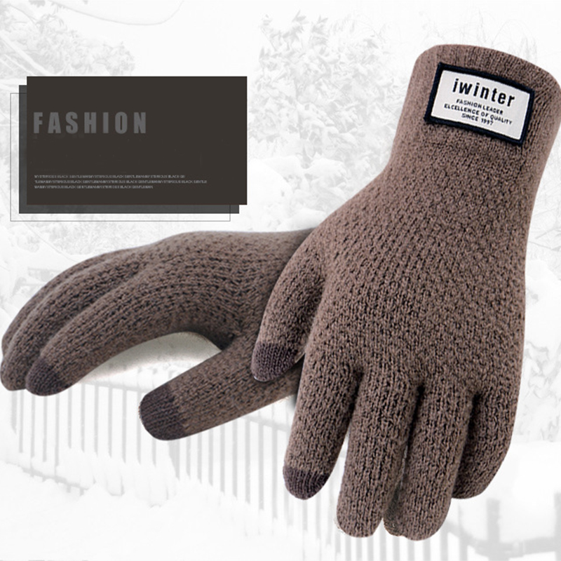 Fashion Mens Knitted Gloves Touch Screen Thicken Warm Solid Gloves Mittens