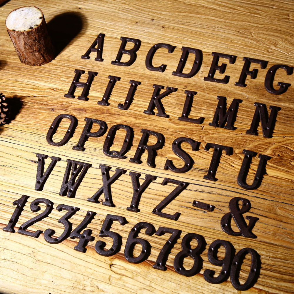 1X Metal Letters Cast Iron Address Alphabet Decor House Sign Cafe ...