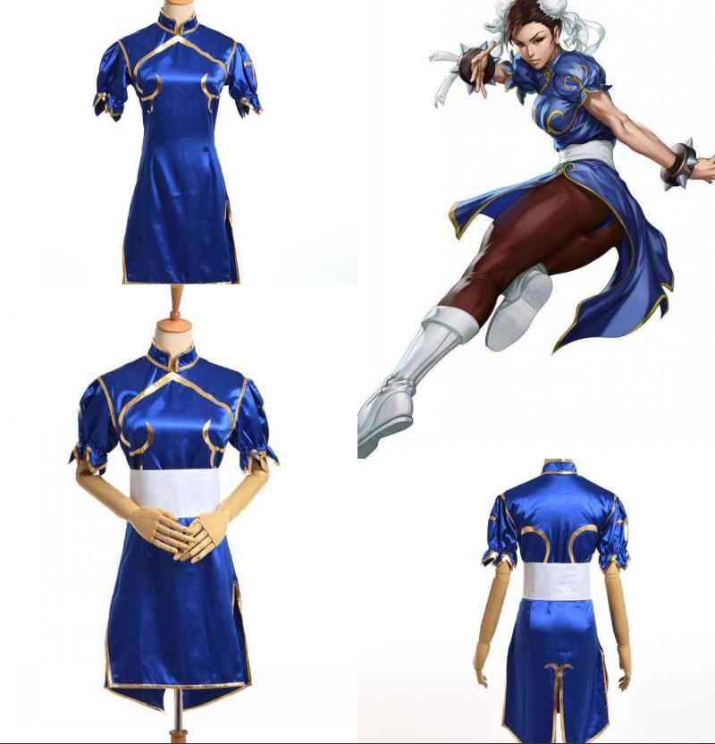 Anime Street Fighter Chun Li Blue Cheongsam Qipao Cosplay Costume