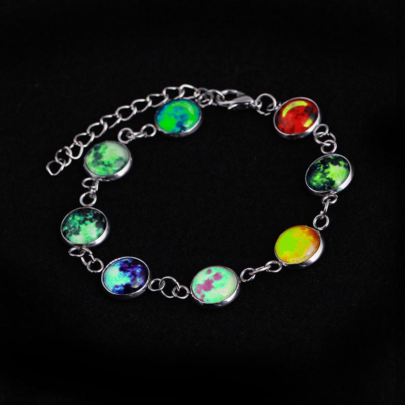 Details About Women Full Moon Galaxy E Cabochon Bracelet Glow In The Dark Luminous Jewelry