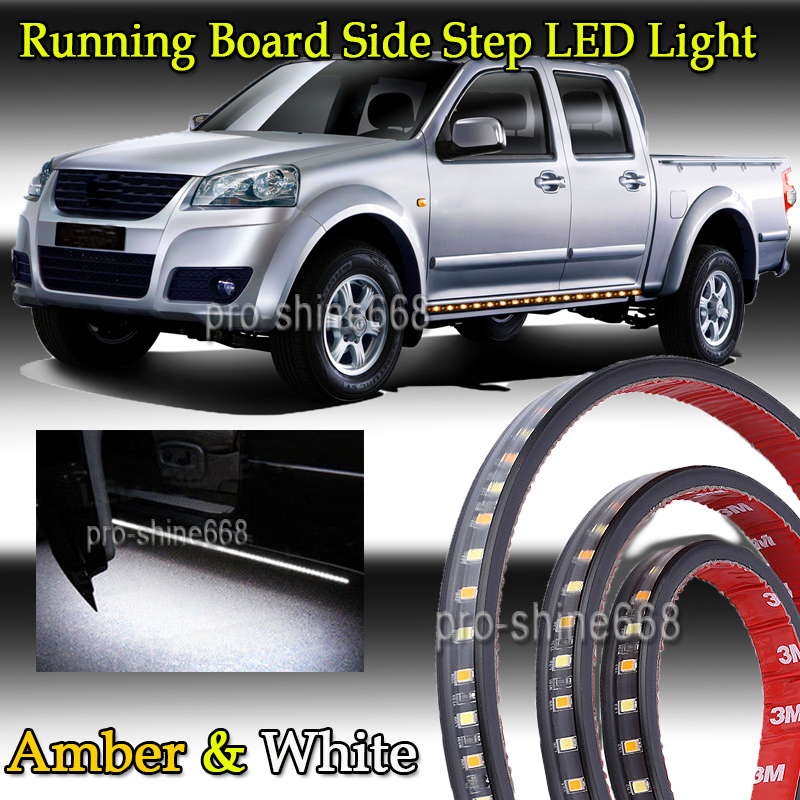 2X Amber /&White Running Board Side Step LED Light for Chevy Dodge GMC Ford Truck