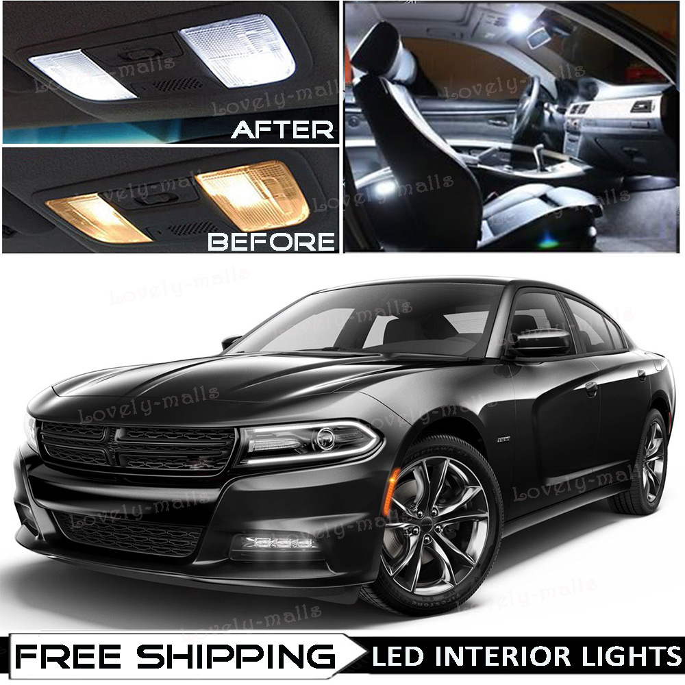 Details About For 2015 2018 Dodge Charger White Led Interior Lights Kit Package Vanity Bulbs
