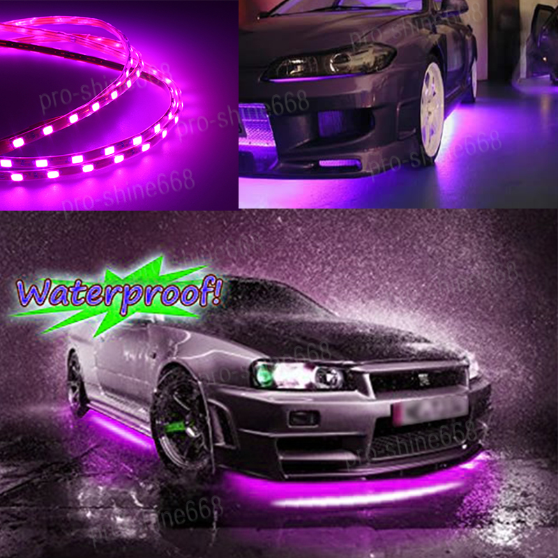 Details About Universal Pink Purple Led Strip Under Car Glow Underbody System Neon Light Kit Q