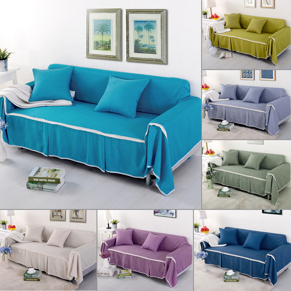 Cotton Blend Slipcover Sofa Cover Protector For 1 2 3 4 Seater  ~ Turquoise Slipcover Sofa