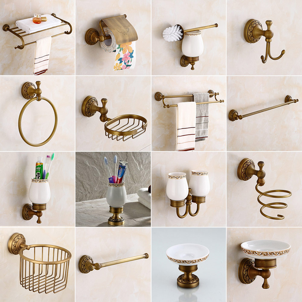 Antique Brass Carved Bathroom Accessories Set Bath Hardware Towel ...