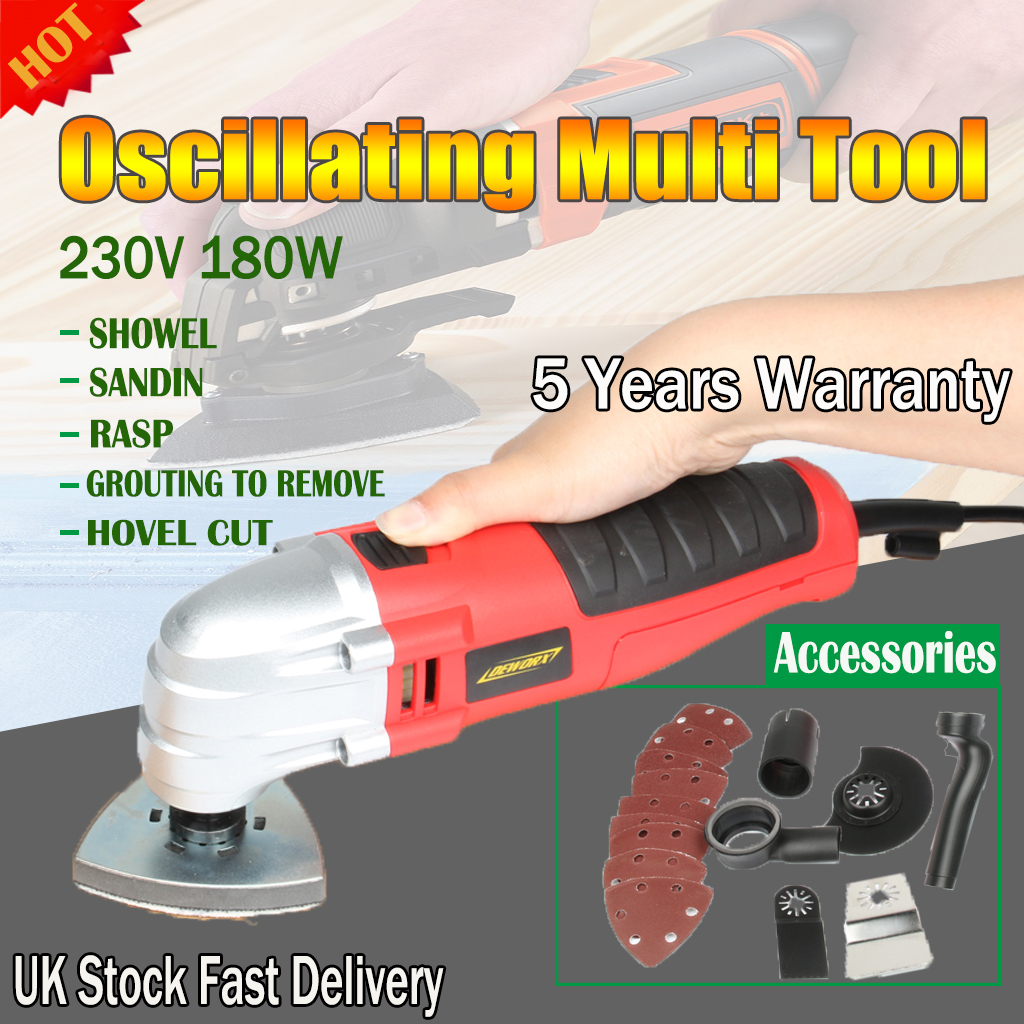 Details about Electric Oscillating Multi Tool Kit Polishing Sander Strong  Power 180W 230V 19pc