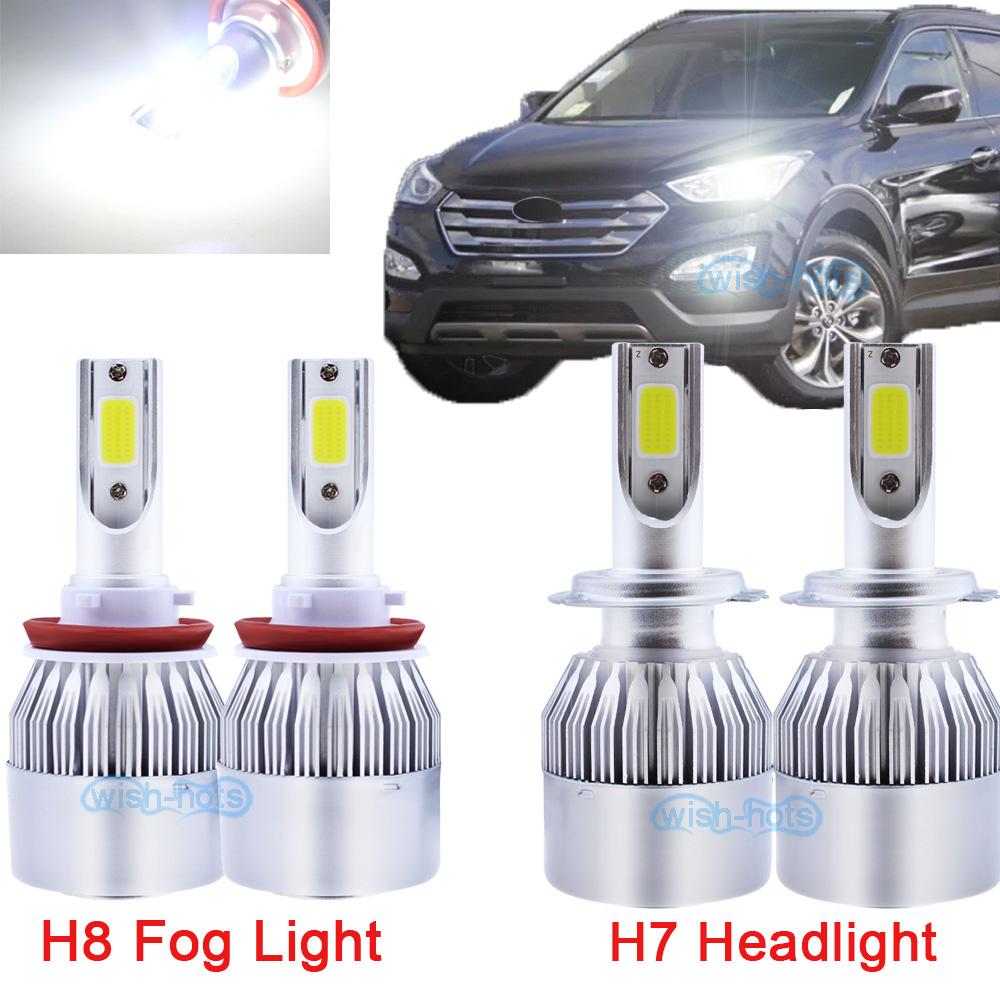 H7 Led Headlight High Beam H8 Fog Light For Hyundai Santa