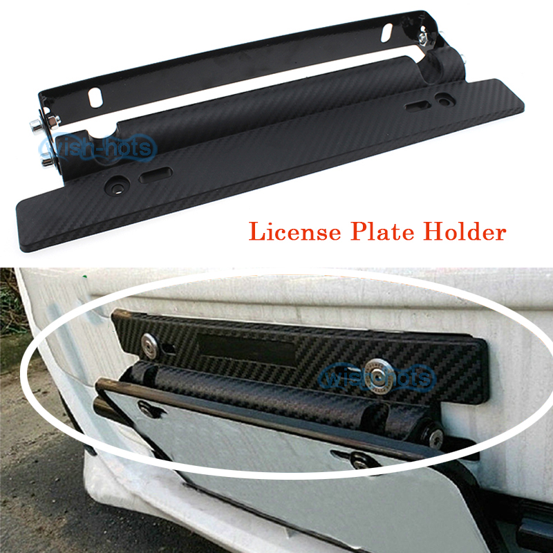 LIGHT Carbon Fibre Look Security Number Plate Surround Holder Frame Universal