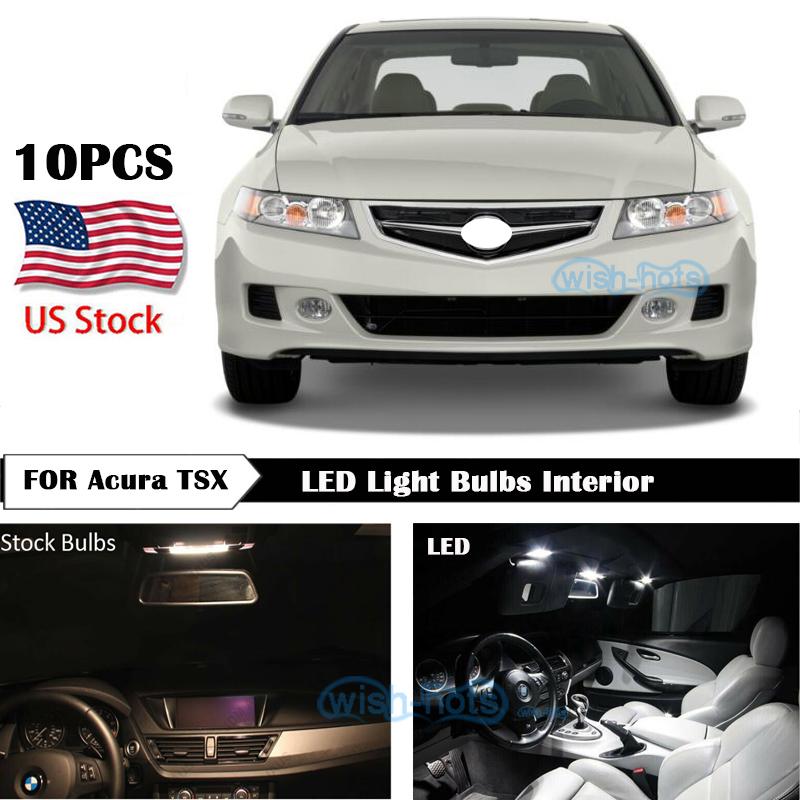 10Pcs White LED Interior Lights Package Kit For 2004-2008