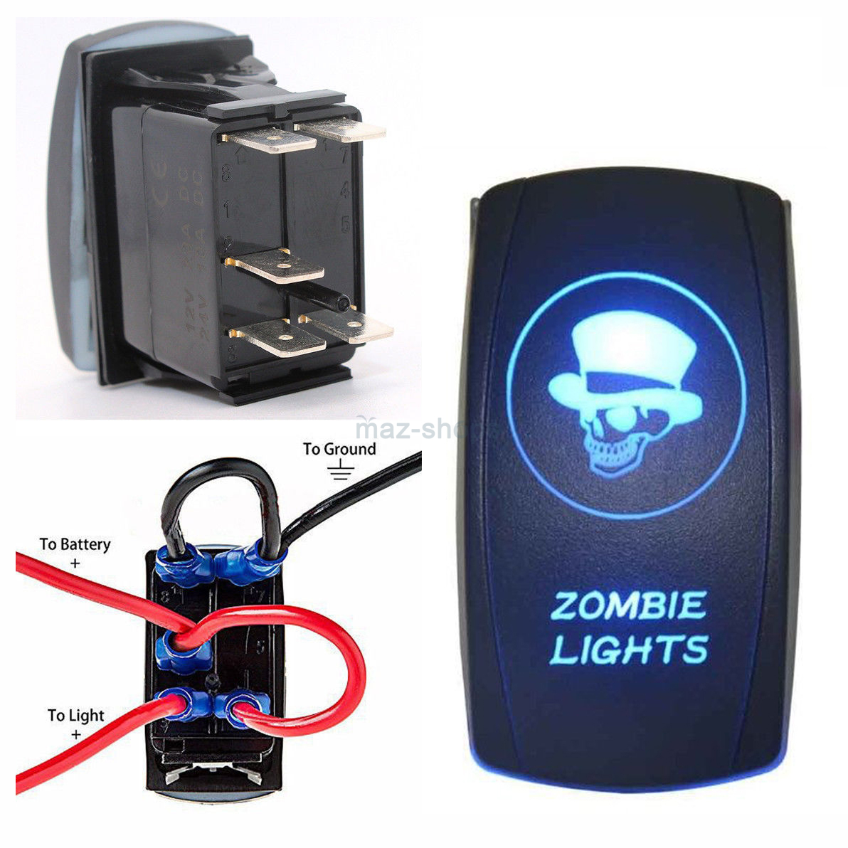 12v 24v Blue Zombie Lights On Off Laser Rocker Switch W Wiring Light Diagram Harness Relay