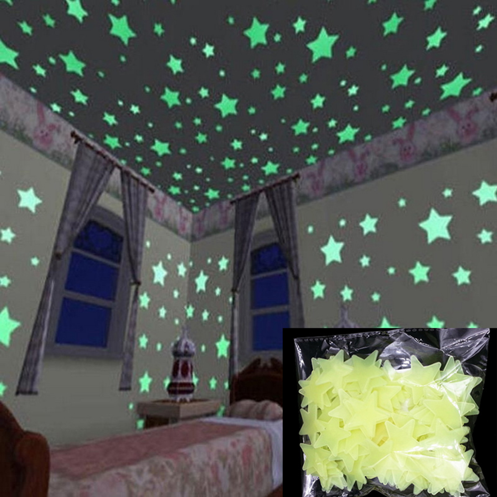 100pcs 3d home wall ceiling glow in the dark stars stickers