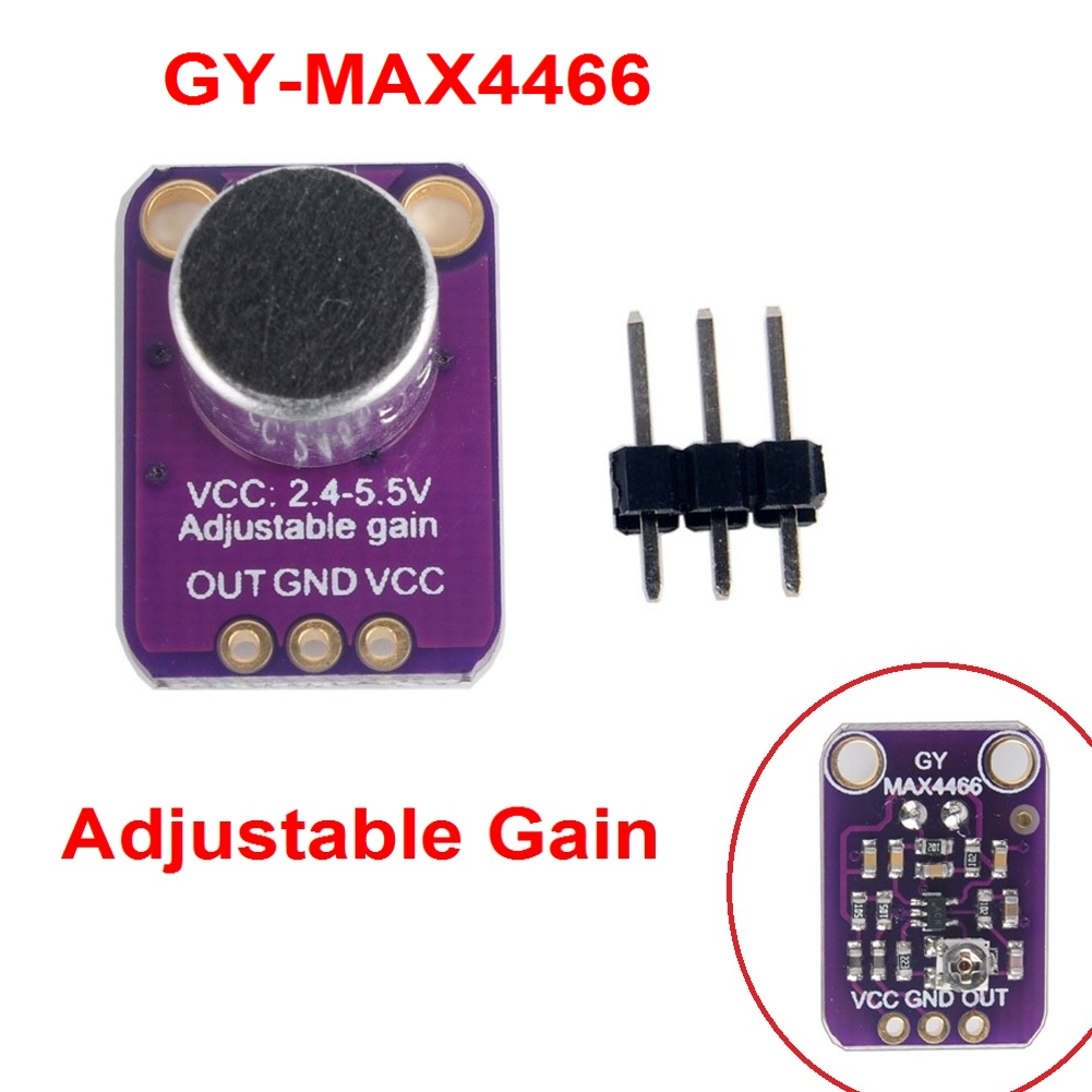 Electret Microphone Amplifier Gy Max4466 Sensor With Adjustable Gain Mic Preamp Circuit For Arduino