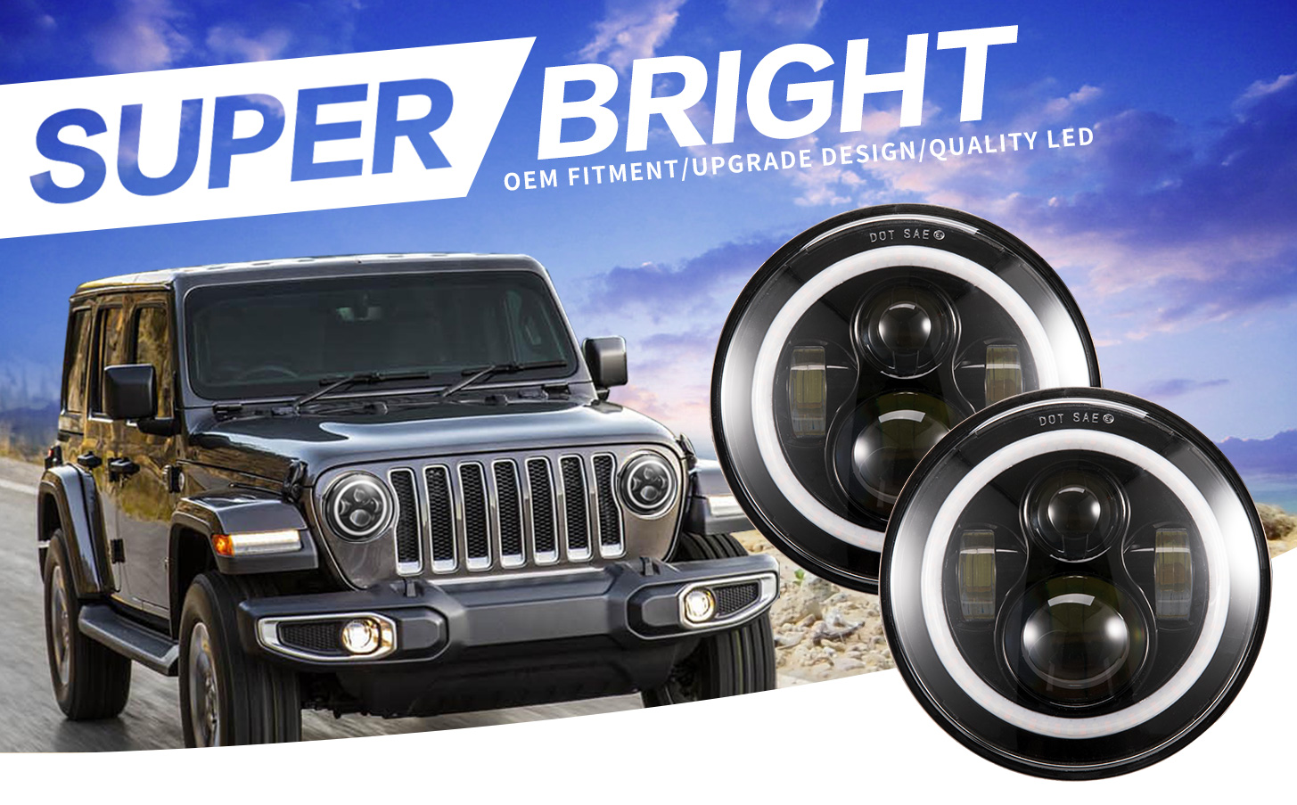 Jeep Wrangler Oem Fog Lights Led Light Bars 2 Pieces 7inch Round Angel Eyes Cree Headlight Test1