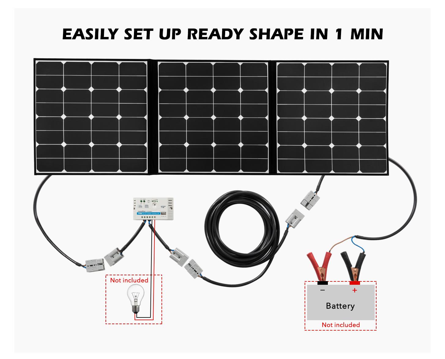 150w Flexible Folding Solar Panel Kit Mono Caravan Boat Camping Wiring Diagram Power Battery