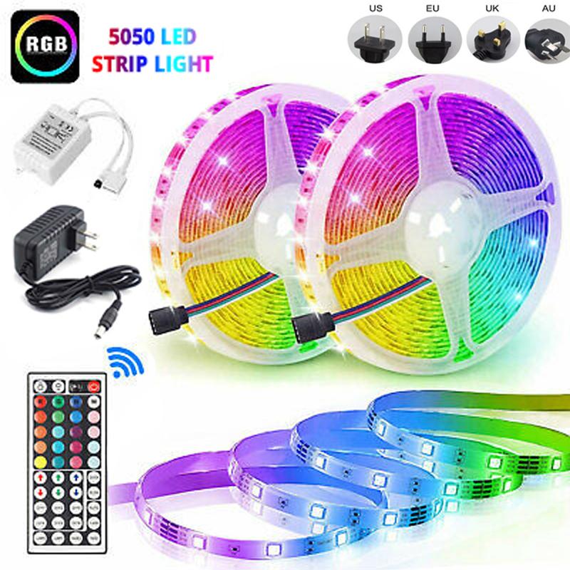 15M//10M//5M RGB LED Strip Light 3528 SMD 44 Key Remote 12V DC Full Kit tape Lamp
