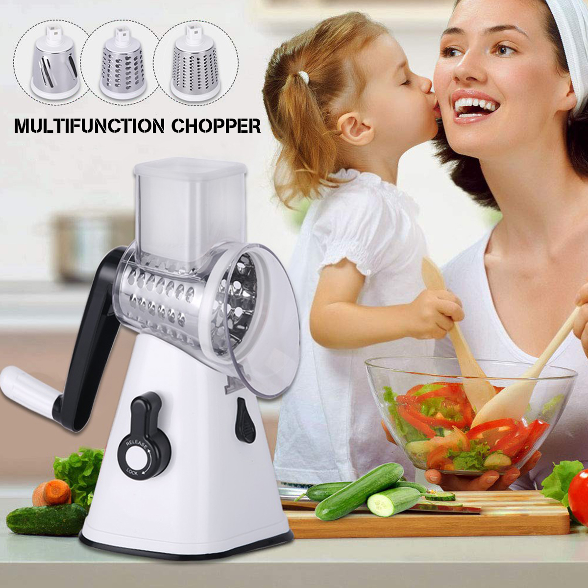 Kitchen Manual Multifunction Vegetable Food Rotary Drum Grater Chopper Slicer