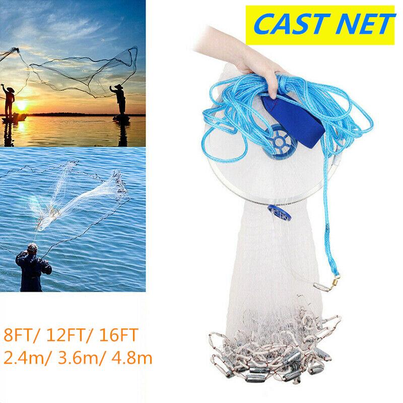 2.4M//8ft Magic Trap Hand Throw Fishing Mesh Chain Spread Bottom Bait Cast Net