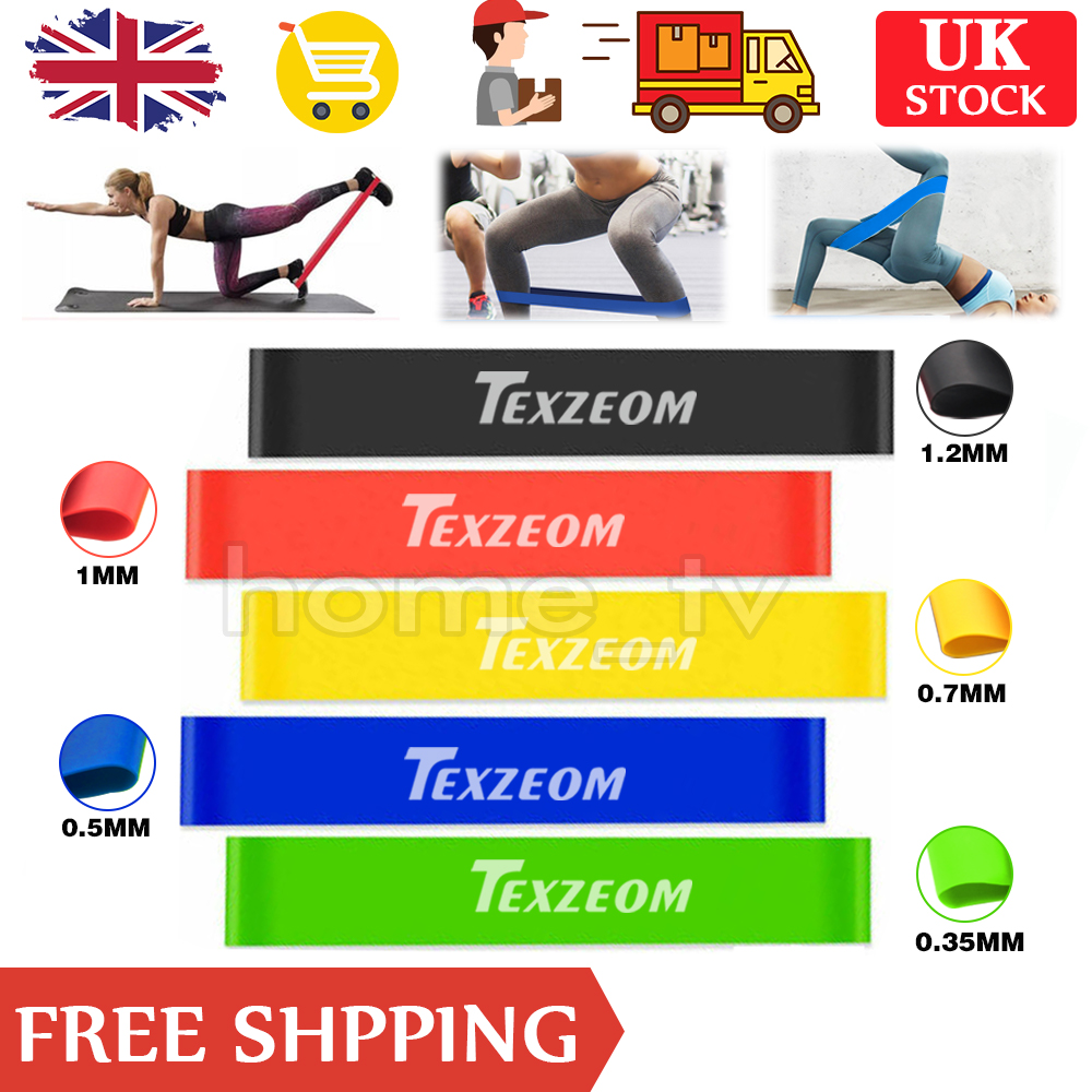Resistance Loop Bands Mini Natural Latex Exercise Yoga 5 Piece Set Core Balance