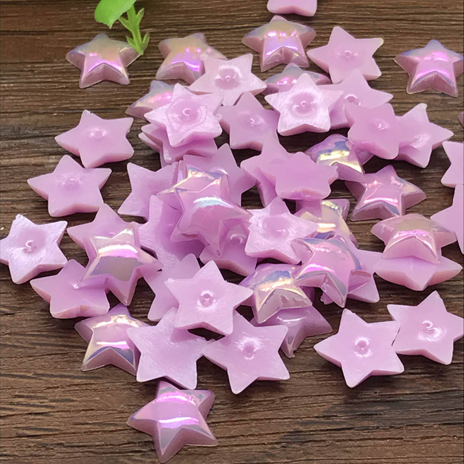 NEW 6mm 200pcs smooth Resin Star Flat back Scrapbooking beads Craft Light blue