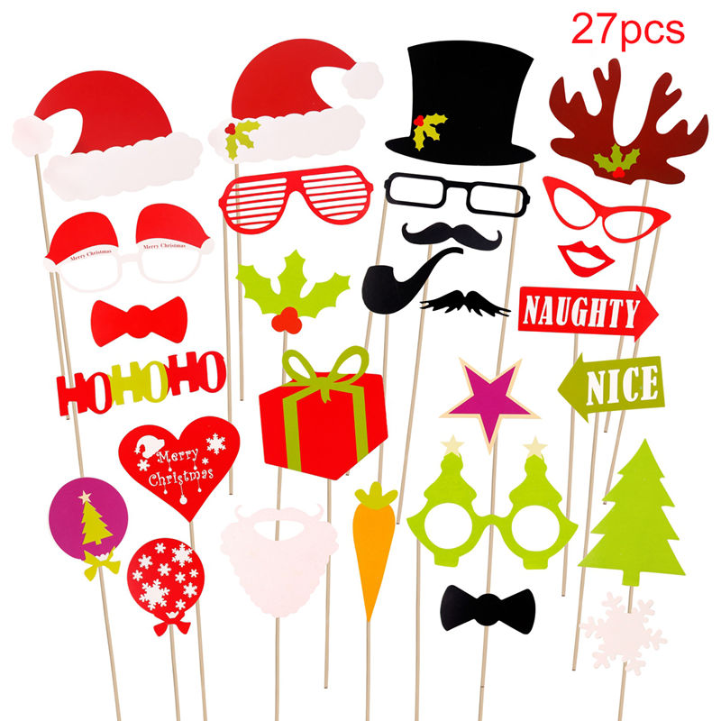 2018 new years eve party christmas photo booth props mustache stick selfie decor ebay. Black Bedroom Furniture Sets. Home Design Ideas