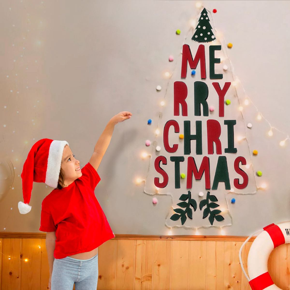 Details About Merry Christmas Tree Wall Sticker Decal Led Light Fairy String Home Xmas Decor