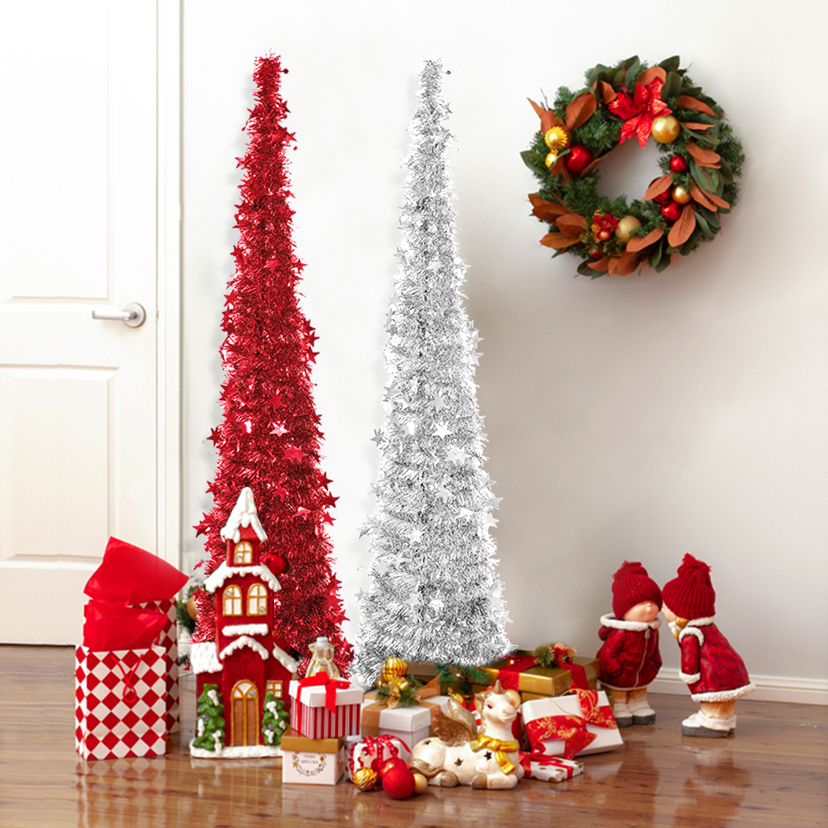 Collapsible Christmas Tree.Details About 4ft Christmas Tree Artificial Collapsible Sequin Stand Home Decor Indoor Outdoor
