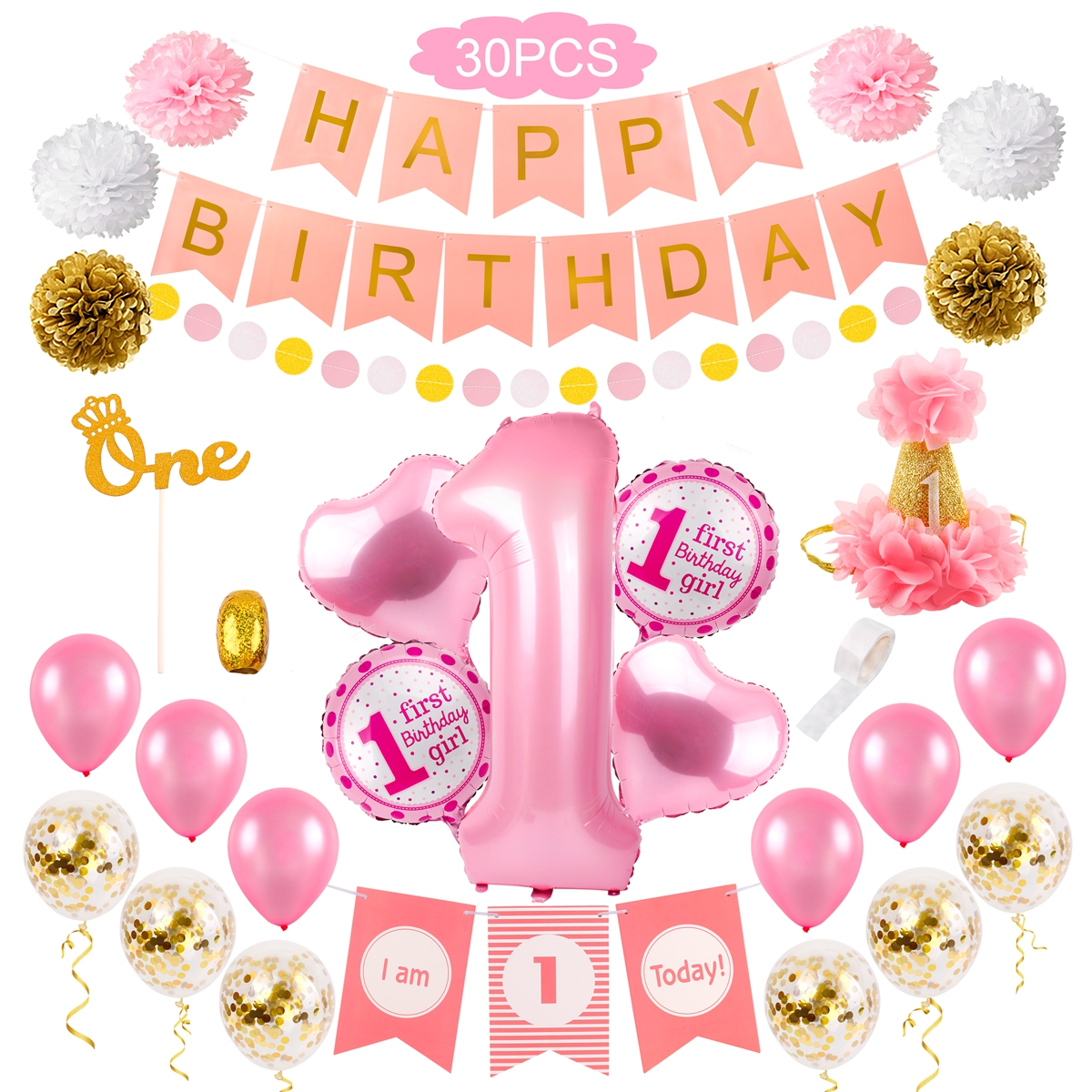 Details About Happy 1St Birthday Decoration Set Pink Heart Balloon Theme Baby Shower