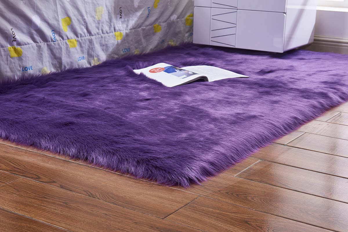 Artificial Wool Home Bedroom Fluffy Area Rug Floor Mat