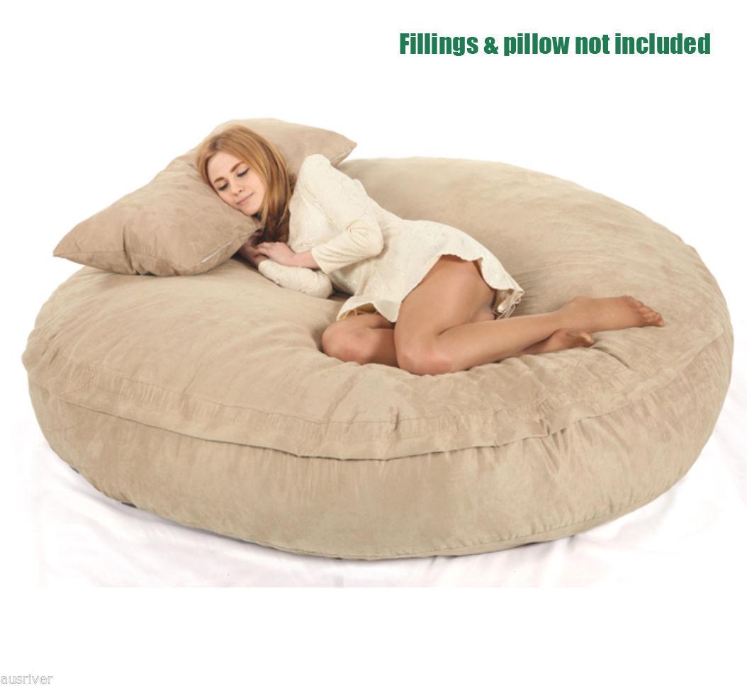 large beige suede dia180cm bean bag loveseat sofa chair. Black Bedroom Furniture Sets. Home Design Ideas