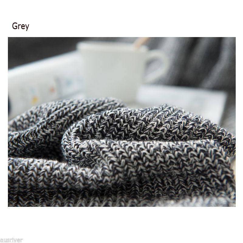 Cotton Knitted Variegated Throw Rug Couch Lounge Sofa