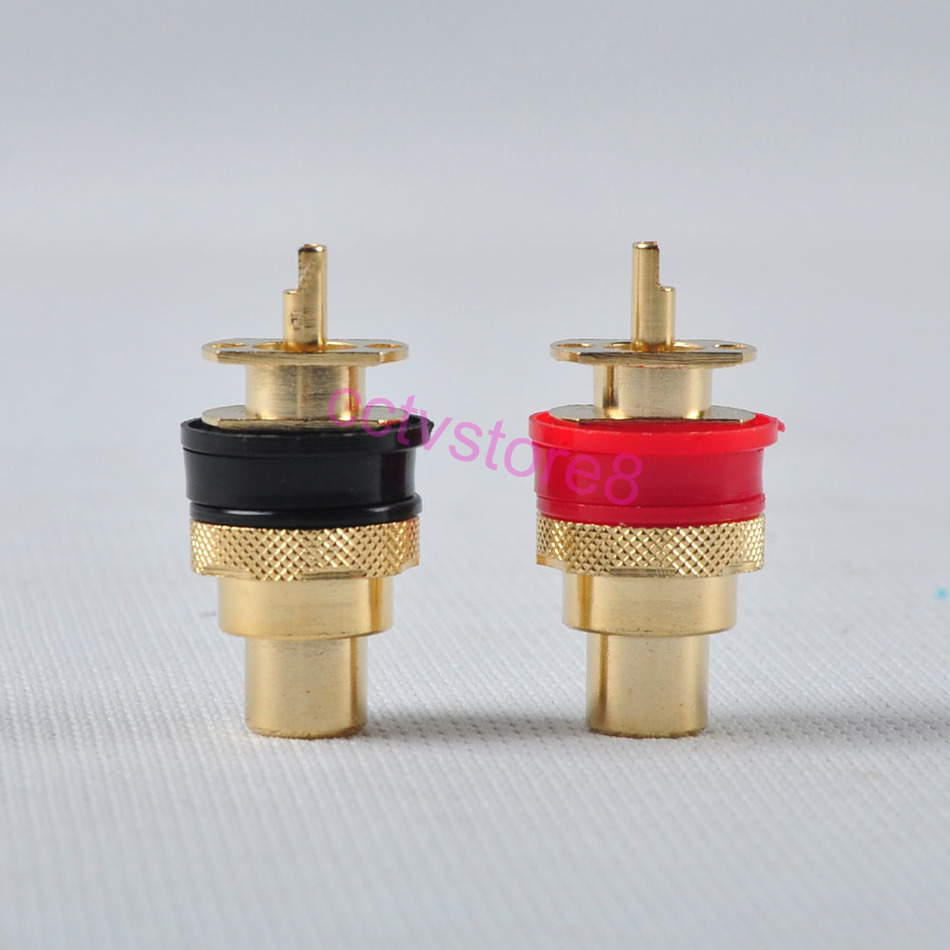 4pc GOLD RCA Terminal Jack Female Chassis Connector Audio Amplifier sockets