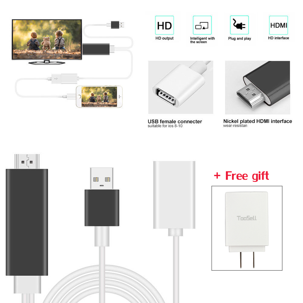 Lighning to HDMI//HDTV AV TV Cable Adapter For Apple iPhone 7 6 6s Plus Ios 10