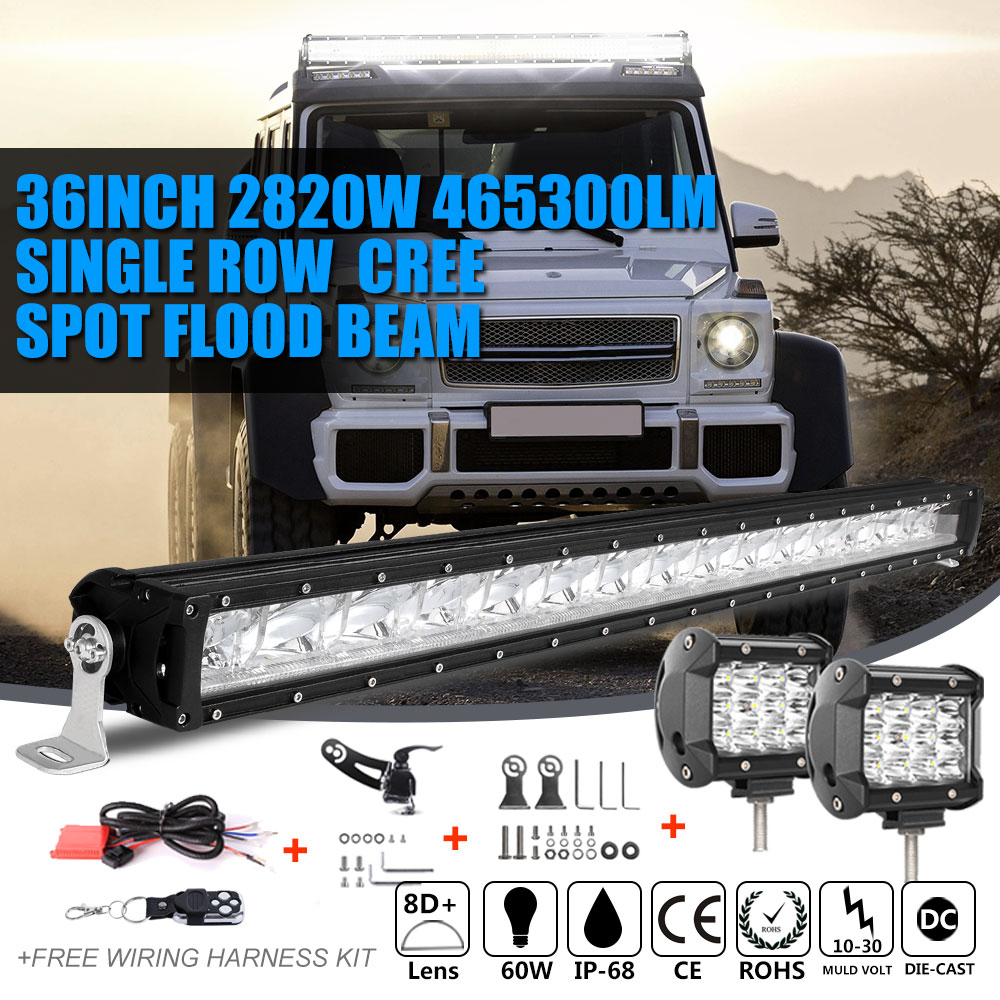 "SLIM 36Inch 2820W+4""inch 72W Led Light Bar Spot Flood Offroad 4WD Jeep Truck  35"""