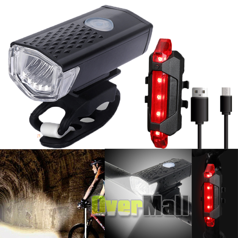 Cycle Front /& Rear Lamp Combo USB Rechargeable Bicycle Light Bike LED Headlight