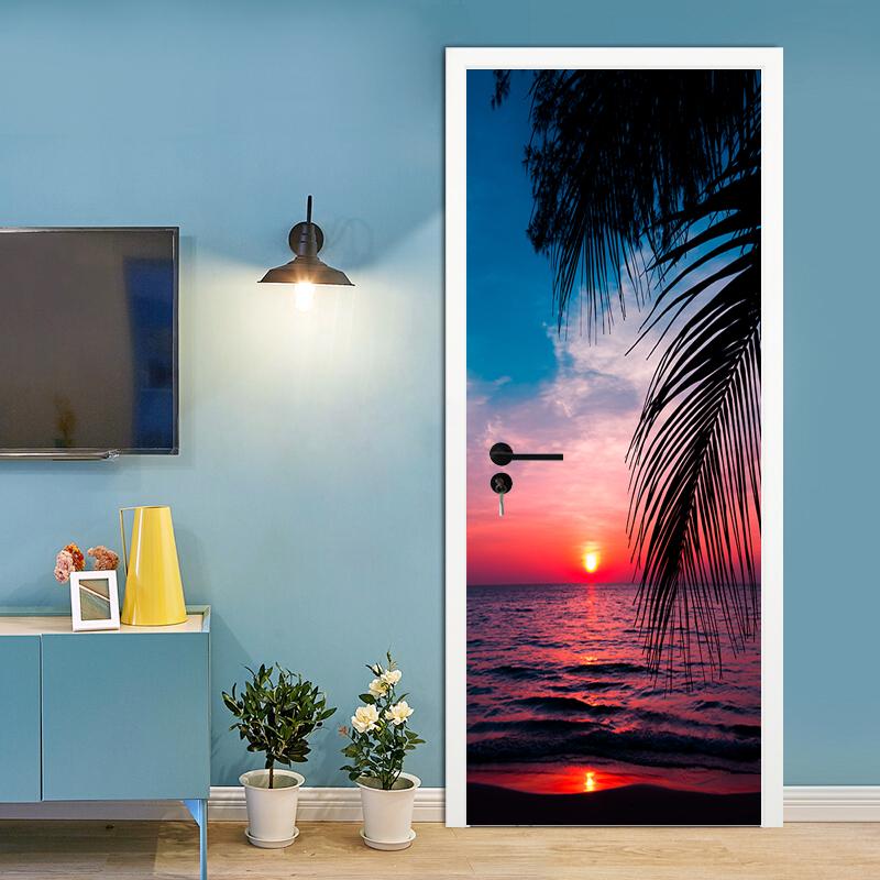 PVC Door Sticker Tropical Beach Ocean Wall Decals Mural 3D Waterproof Wallpaper