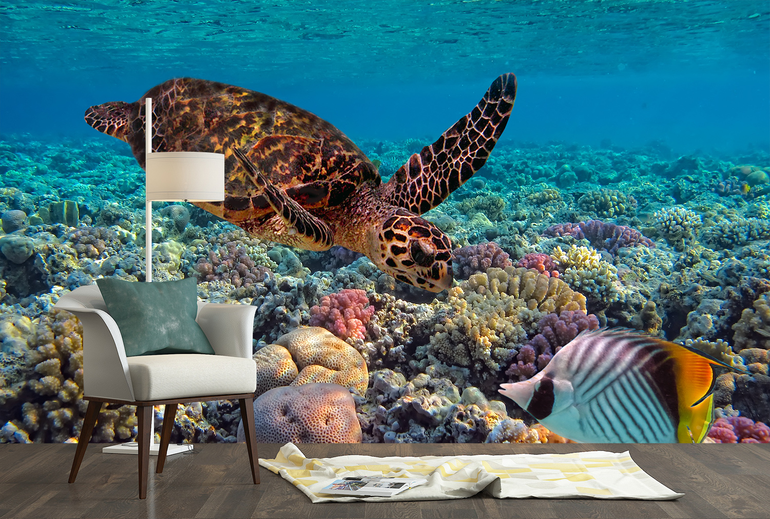 Coral Reef /& Turtle Poster Self Adhesive Wall Decal Sticker Mural