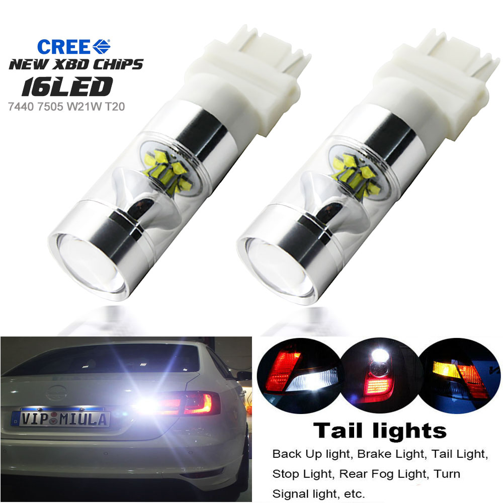 2 x White T20 7443 7441 992A 6 LED Backup Brake Light Lamp Bulb DC 12V