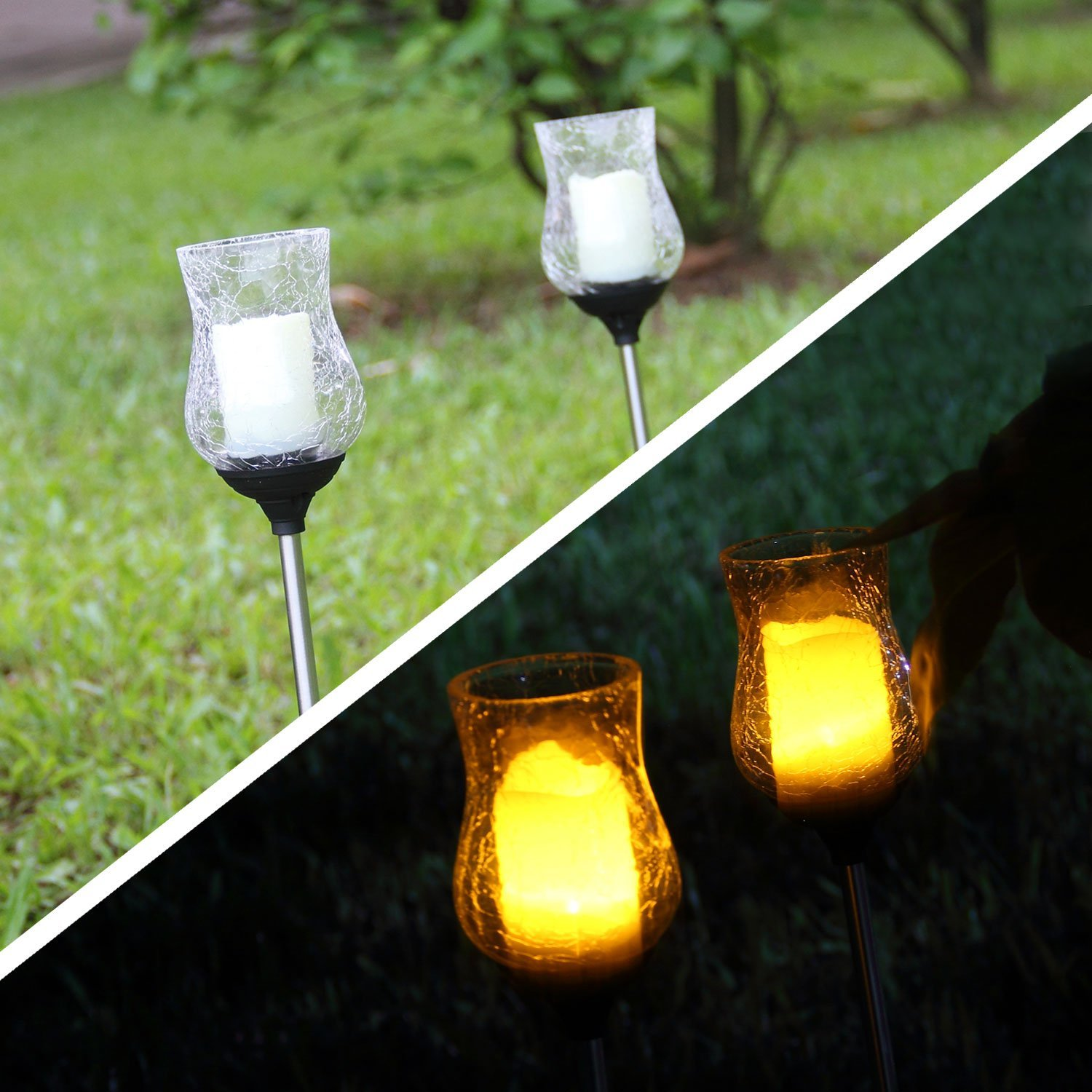 2 Crackle Glass Ball Glickering Candle Path Solar Led
