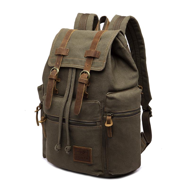 ba501bd13236 Details about Canvas Vintage Backpack Casual Bookbag Men Women Laptop  Travel Rucksack